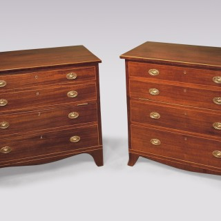 A near pair of George III mahogany Commode Chests.