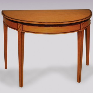 Antique Sheraton period half-round satinwood Card Table.