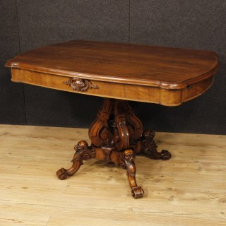 Antique French Center Table In Walnut Wood From 19th Century