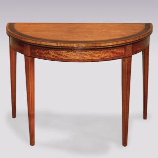 Antique late 18th Century Satinwood half-round Card Table.