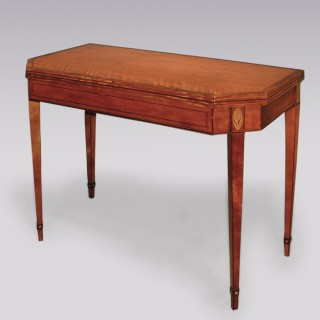 Antique late 18th century Sheraton period satinwood card table.