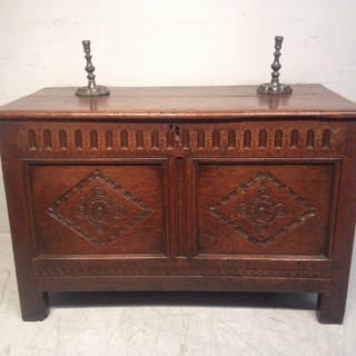 Charles II carved oak coffer.