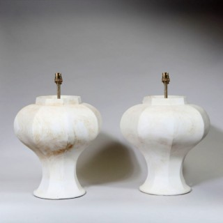A PAIR OF OCTAGONAL BALUSTER GINGER JAR LAMPS