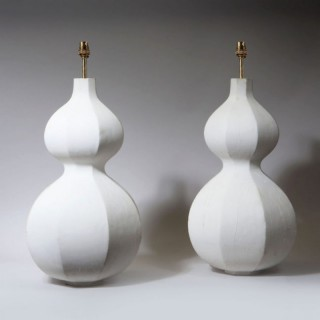A PAIR OF OCTAGONAL DOUBLE GOURD WHITE PAINTED LAMPS