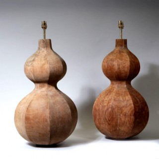 A PAIR OF OCTAGONAL DOUBLE GOURD WOODEN LAMPS