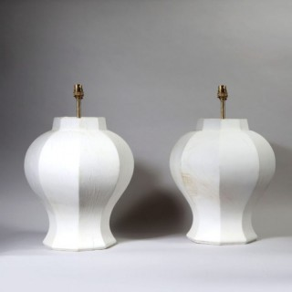 A PAIR OF OCTAGONAL FACETED BALUSTER LAMPS