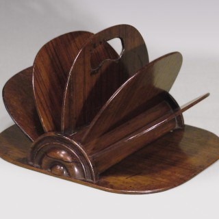 A 19th Century rosewood fan shaped Letter Rack.