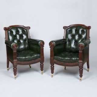 Pair of Georgian Mahogany Leather Library Armchairs