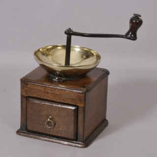 Antique Treen 18th Century Oak Square Base Coffee Grinder
