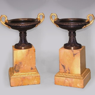 Antique pair of 19th Century bronze and ormolu Tazzas.