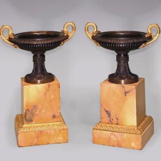 Antique pair of 19th Century bronze and ormolu Tazzas.