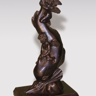 Mid 19th Century bronze Model of 2 cherubs riding a dolphin.
