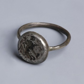 Byzantine Silver Ring with Saint