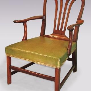 Large mid 18th Century mahogany Library Armchair.
