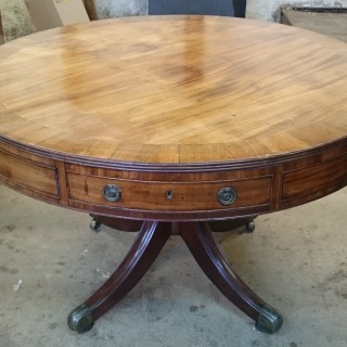 18th Century George III Period Mahogany Antique Library Drum Table