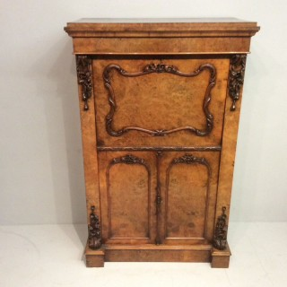 Small Victorian burr walnut secretaire cabinet.
