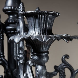 FLOOR STANDING BLACK CAST IRON CANDELABRUM