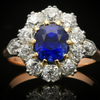 Natural unenhanced Burmese sapphire and diamond cluster ring, circa 1910.