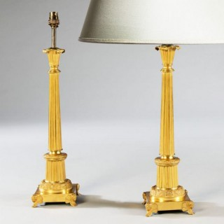 PAIR OF FRENCH GILT BRONZE AND TOLE LAMPS