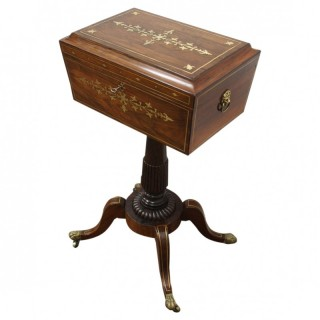 Rare Regency Rosewood and Brass Inlaid Teapoy on Stand