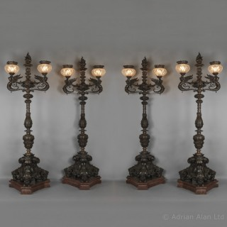 A Rare and Monumental Set of Four  Bronze Torcheres Possibly by Gagneau Frères
