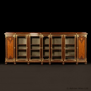 A Large and Impressive Gilt-Bronze Mounted Marquetry Bookcase