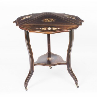 Early 20th Century Edwardian Triple Drop Flap Occasional Side Table