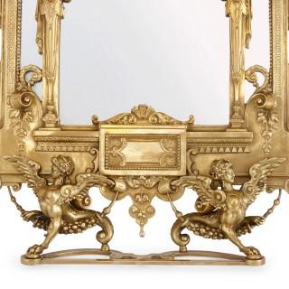 19th Century Empire style ormolu table mirror
