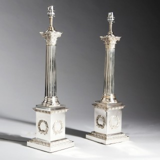 PAIR OF SILVER PLATE CORINTHIAN COLUMN LAMPS