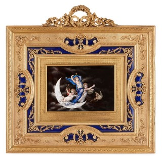 19th Century Limoges enamel plaque depicting cherubs in the night sky