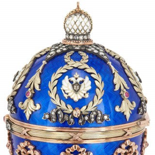 Faberge style guilloche enamel Easter egg with gold and precious stones