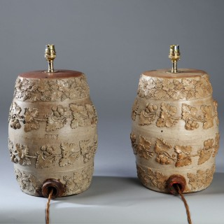 PAIR OF VICTORIAN STONEWARE BARRELS AS LAMPS
