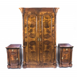 Antique Victorian Burr Walnut Wardrobe & Pair Bedside Cabinets C1870