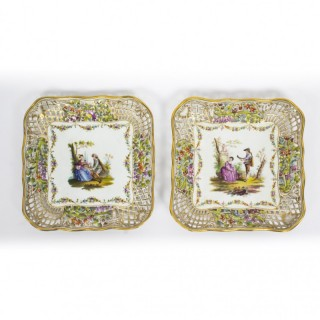 Antique Pair German Dresden Porcelain Reticulated Dishes 19thC