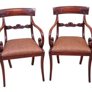 Antique Regency Mahogany Set Of Dining Chairs