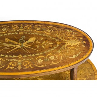 Antique English Mahogany & Satinwood Etagere Tray Table c.1890
