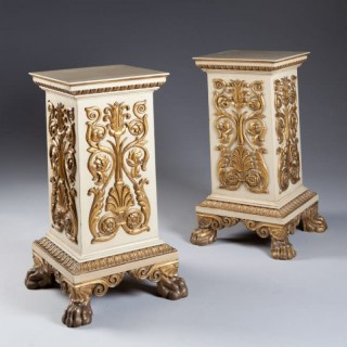 A PAIR OF PAINTED ITALIAN PEDESTALS