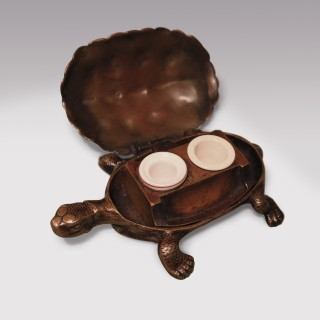 A 19th Century well modelled Bronze tortoise Inkwell.