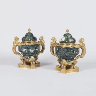 Pair of Grecian Green Marble and Ormolu Vases