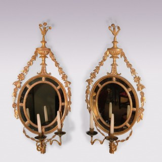 Pair of late 18th Century Adam period giltwood Girandoles.