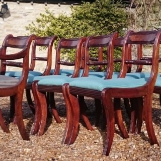 Early Nineteeth Century Regency Mahogany Set Of Nine Antique Dining Chairs.