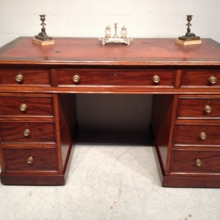 Early Victorian mahogany pedestal desk.