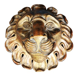 CARVED GILTWOOD LIONS MASK