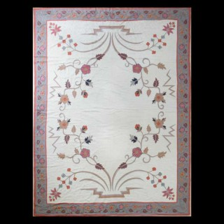 NEEDLEWORK EMBROIDERY RUG / WALL HANGING