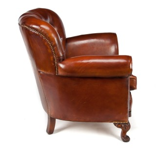 Handsome Pair of Antique Walnut Leather Upholstered Armchairs