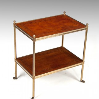 Early 20th Century Brass and Leather Etagere