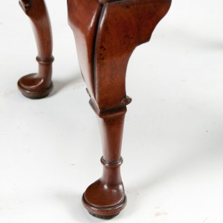 Quality Late Victorian Walnut and Leather Cabriole Legged Stool