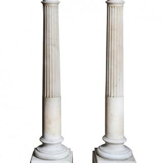PAIR OF WHITE CARRARA MARBLE COLUMNS