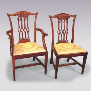 Set 6 + 2 19th Century Chippendale Style mahogany Dining Chairs.