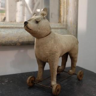 19th C. French Toy-Dog on Wheels